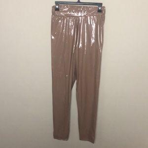 Boohoo patent latex vinyl nude pants UK 12 L
